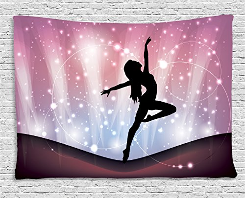 Ambesonne Contemporary Tapestry, Silhouette of Ballerina Performing on Abstract Backdrop Magic Dance Fine Arts, Wall Hanging for Bedroom Living Room Dorm, 80 W X 60 L inches, Multicolor by Ambesonne