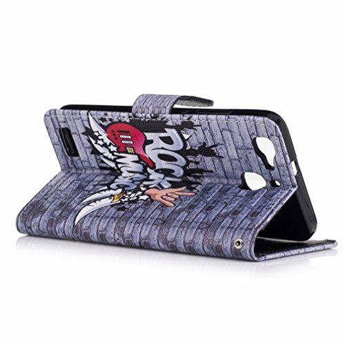 Yiizy Huawei Enjoy 5s / Huawei GR3 Funda, Mural Fresco Diseño Solapa Flip Billetera Carcasa Tapa Estuches Premium PU Cuero Cover Cáscara Bumper Protector Slim Piel Shell Case Stand Ranura para Tarjeta