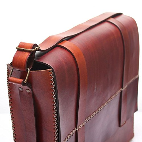 Brown Leather Handmade Messenger Bag by AnyLeatherDesigns