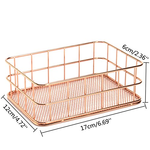 Caveen Modern Copper Rose Gold Wire Mesh Basket Storage Office Bedroom Bathroom Rose Gold medium Photo #3