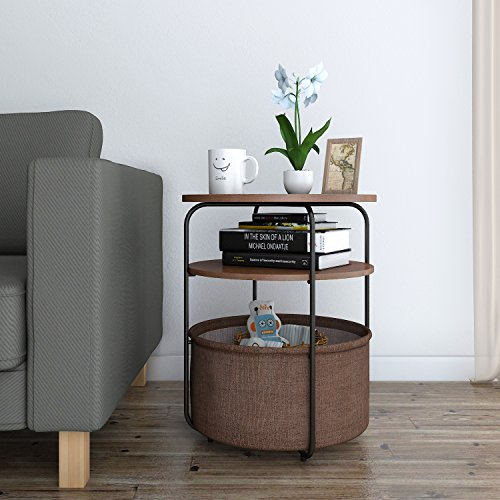 Lifewit 3-tier Round Side Table End Table Nightstand with Storage Basket, Modern Collection Espresso, 16.5 x 16.5 x 20 inches