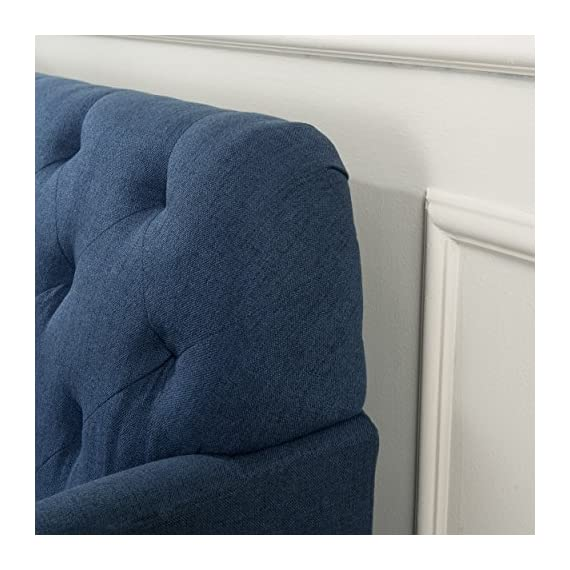 Christopher Knight Home Jennifer Dark Blue Tufted Fabric Loveseat - This Loveseat is ideal for smaller spaces. With extra padded Cushions for maximum comfort, and a Tufted Back, this Loveseat is both comfortable and stylish. The curved armrests provide a more ergonomic place to Rest against, both for sitting and resting against. You can't go wrong with this Loveseat for any room in your home. Includes: one (1) Loveseat Material: fabric. Leg Material: Birch - sofas-couches, living-room-furniture, living-room - 51aHok%2B6UkL. SS570  -