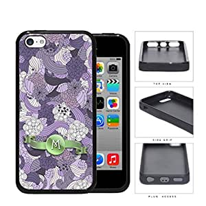 Pretty Purple Lilac Floral Flowers Pattern LETTER INITIAL MONOGRAM Green Stripe Banner iPhone 5c Rubber Silicone TPU Cell Phone Case