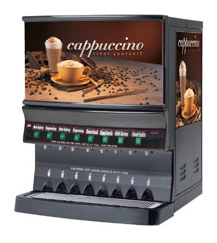Grindmaster-Cecilware GB8MP-10-LD-U Panorama 8-Flavor Hot Powder Beverage Dispenser, Cappuccino (Flavor Cappuccino Dispenser)