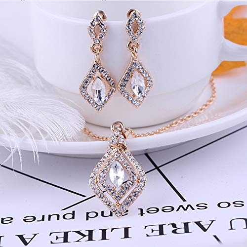 Gespout Ensemble Bijoux Pendentif Strass Unique Collier Doucles doreilles /él/égantes Femmes Accessoires Bijoux Mariage