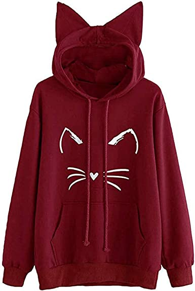 Cutude Sweat A Capuche Femme Hoodie Sweat Shirt Imprimer Chat
