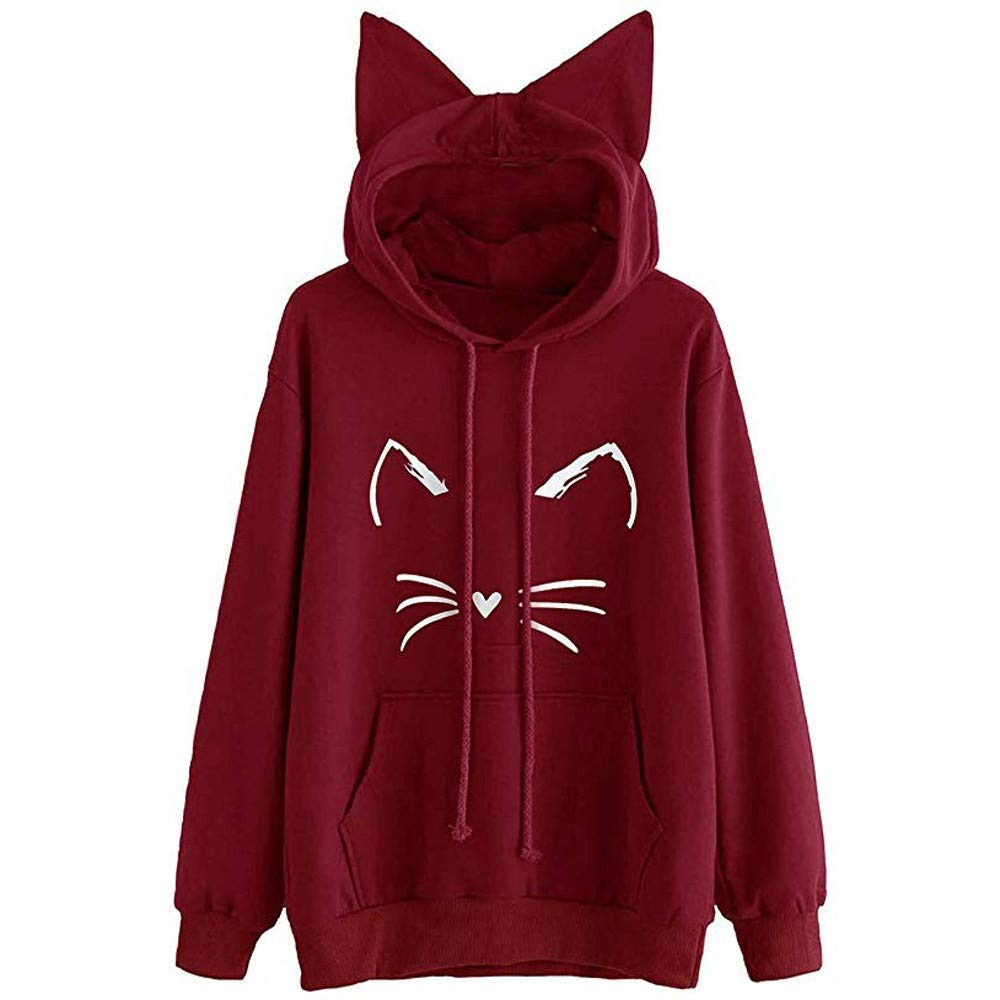 Most Wished!!! Teresamoon Womens Cat Ear Solid Long Sleeve Hoodie Sweatshirt Hooded Pullover Tops Blouse Teresamoon-Shirt