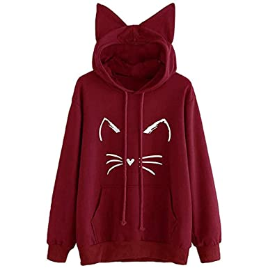Sweat À Couleur Chat Oreille Impression Unie Shirt Femme Yebiral 48dfwf