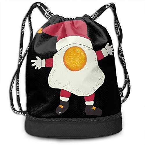 YyTiin Fried Egg Nog Santa Unisex Waterproof Drawstring Backpack Sports Dance Storage Bags Sackpack Gym Traveling Outdoor]()