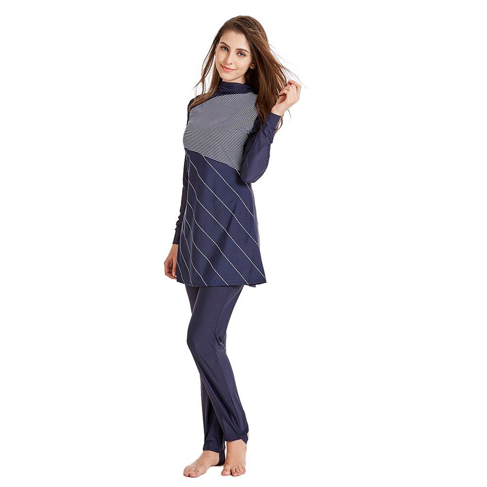 2115527ae3e YONGSEN Muslim Swimwear Women Modest Patchwork Full Cover Long Sleeve  Swimsuit Islamic Hijab Islam Burkinis Wear Bathing Suit at Amazon Women's  Clothing ...