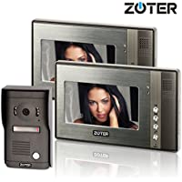 Generic 7 inch Color LCD Wired Video Door Phone Doorbell Home Entry Intercom System Kit 2 Monitor 1 Camera Night Vision 702D2