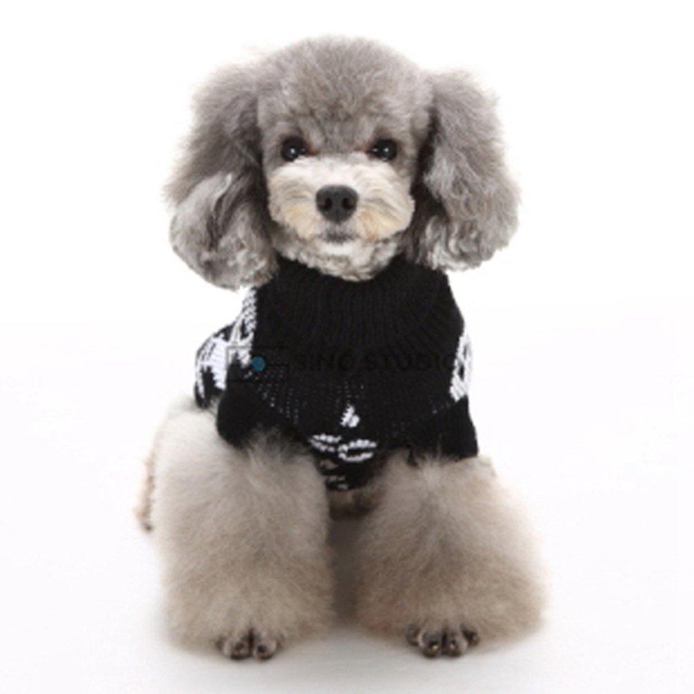 YiJee Natale Abbigliamento Tops Maglione Maglieria per Cane Animale Halloween Domestico Pullover Nero XS