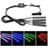XCSOURCE 4pcs 8 Color LED Interior Footwell Lighting Kit, Interior Atmosphere Neon Lights Strip for Car With Music Active Function and IR Remote Control MA750
