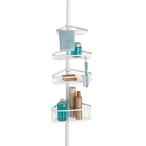 mDesign Estantería de ducha con barra telescópica de metal – Práctico organizador de ducha extensible para jabón, champú, manoplas, etc. – Estantería ...