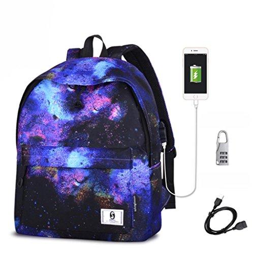 Mode Rucksack, CraftsDi Neue Print Schule UmhäNgetaschen Rucksack Reiserucksack Mit USB GroßE Geschenke A