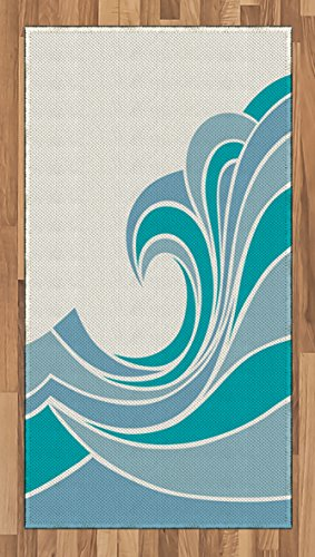 Lunarable Ocean Area Rug, Sea Design with Waves Vintage Curvy Stripes Marine Theme Illustration, Flat Woven Accent Rug for Living Room Bedroom Dining Room, 2.6 x 5 FT, Turquoise Slate (Turquoise New Wave Rug)