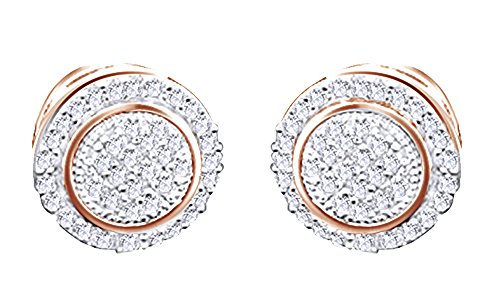 14K Rose Gold Over Sterling Silver Pave Set White Natural Diamond Hip Hop Stud Earrings (0.26 Cttw) by wishrocks