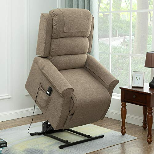 Electric Power Lift Recliner Chair Classic Comfortable Fabric Lounge for Elderly Ultimate Comfort Living Room Cozy Seating (Light Brown)