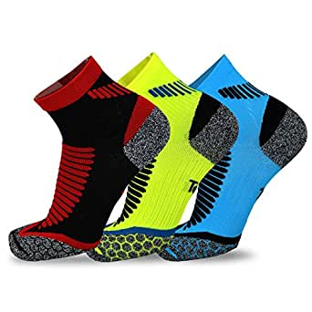 TeeHee Athletic Sports Functional Compression Cushioned Socks 3-Pack (Medium, Anklet)