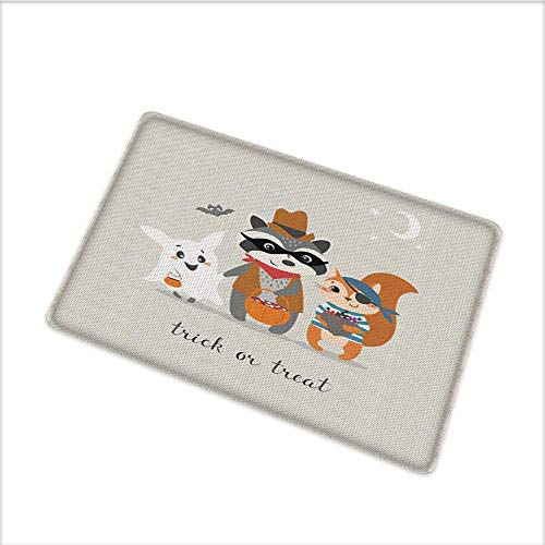 Door Mats for Home, Trick or Treat Quote with Happy Forest Animals on Halloween Costumes Moon and Stars, Bath Mat 3D Digital Printing Mat with Durable Mildew Resistant, W79 x -