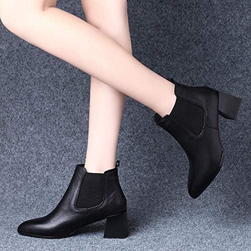 Stivaletti Chelsea Stivali Tacco Spesso in Pelle Wild Martin Boots-34_ Black Velvet