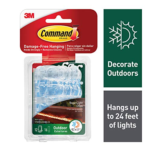 - Command Outdoor Rope Light Clips, 12 clips, 16 strips, Hang Lights Damage-Free, Water-Resistant Strips (17301CLRAW-ES)