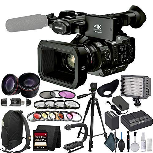 Panasonic AG UX90 4K Professional Camcorder with Lens Enhancement Bundle