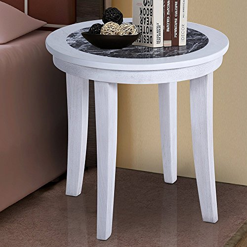 PrimaSleep 22''H Natural Marble (From Italy) Top Wood Round Coffee Table/ Side Table/ End Table/ Sofa Table/ Dining Table/ Vanity Table/ Computer Table/ Office Table/ Living Room Table, (Black/White)