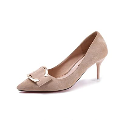 5141fa72296fdd Femmes Escarpins à Hauts Talons Stiletto Velours PU Cuir Lisse Slip On Bout  Pointu Fashion Simple