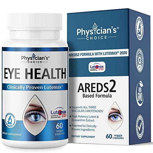 Areds 2 Eye Vitamins (Clinically Proven) Lutein and Zeaxanthin Supplement Lutemax 2020, Supports Eye Strain, Dry Eye, Eye and Vision Health, 2 Award Winning Eye Ingredients Plus Bilberry Extract (Americas Best Chat Line)