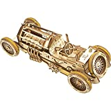 UGEARS U-9 Grand Prix Car 3D Mechanical Wooden Puzzle - Self Assembling Craft Set - Brain Teaser Educational And Engineering Toy For Teens, Adults