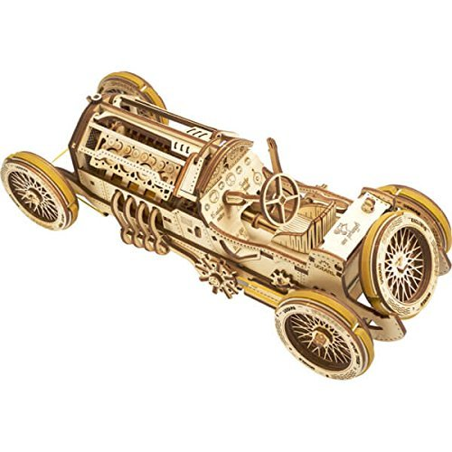 UGEARS U-9 Grand Prix Car 3D Mechanical Wooden Puzzle - Self Assembling Craft Set - Brain Teaser Educational And Engineering Toy For Teens, Adults by Ugears