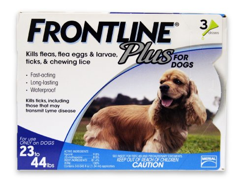 Frontline Plus Flea and Tick Control for Dogs and Puppies,  23-44 lbs, 3 MO. SUPPLY
