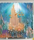 Kids Shower Curtain Nursery Decor Fairy Sand Castle Underwater Dream World Sea Star Seashell Modern Art Tropical Fish Decorations for Bathroom Blue Aqua Turquoise Gold Khaki Purple Coral 60X72 Inch