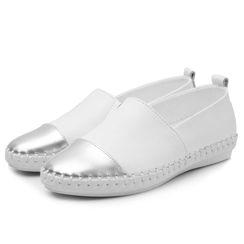 York Zhu Women Espadrilles Flats Casual Shoes White Soft Rubber Outsole Loafers Shoes