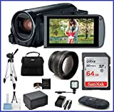 Canon VIXIA HF R82 Full HD Camcorder PRO Bundle, includes: 64GB SDXC Memory Card, Telephoto Lens, LED Light, Tripod, Spare Battery and more...