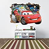 Disney Cars 2 3D Hole in The Wall Sticker Mural Graphic Decal Bedroom Childrens Room (1200mm x 850mm)