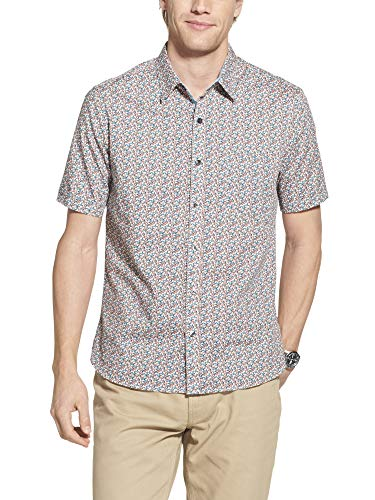 Geoffrey Beene Men's Slim Fit Easy Care Short Sleeve Button Down Shirt, Sargasso Sea Floral Print, XX-Large - Floral Print Snap Shirt