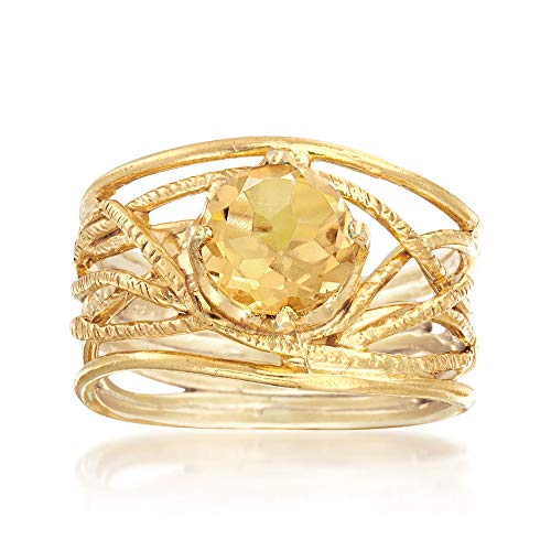 (Ross-Simons 1.60 Carat Citrine Textured Openwork Ring in 18kt Gold Over)