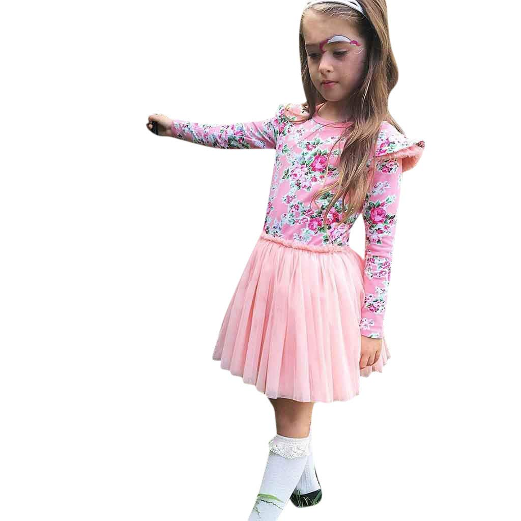 5e481f04d7d2 Amazon.com  Clothes For Toddler Kids Baby Girl Floral T shirt ...