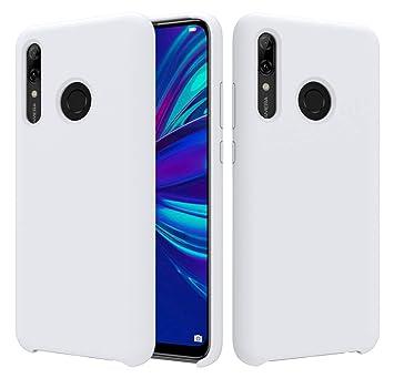 CoverTpu Funda Huawei P Smart Plus 2019 Silicona, Blanco Funda Líquido de Silicona Gel TPU Flexible, Carcasa para Huawei P Smart+ 2019 Anti-Rasguño y ...
