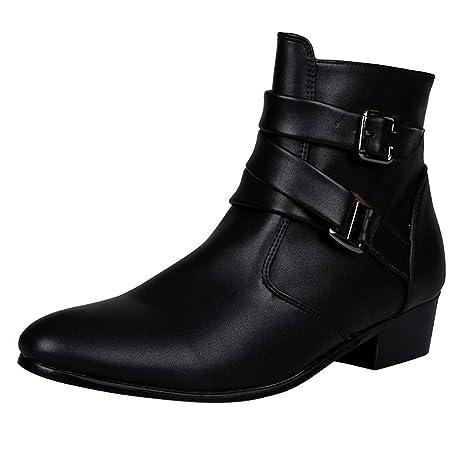 LILICAT❋ Botas Altas de Color Liso Botas de Hebilla de Cuero británicas Puntiagudas para Hombres