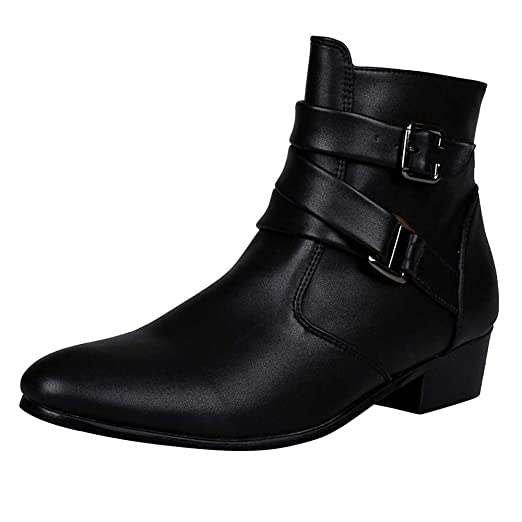 a6d2e3811bcf DENER❤ Men Fashion Winter Leather Work Boots, Low Heels Buckle ...