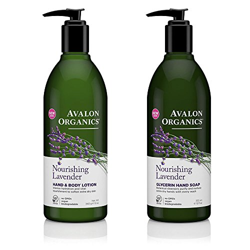 Avalon Organics Nourishing Glycerin Lavender Hand Soap and Hand & Body Lotion Bundle With Aloe, Plant Lipids, Beta-Glucan, Calendula and Vitamin E, 12 fl. oz. each ()