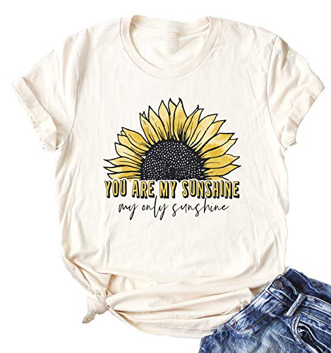 Enmeng Womens You are My Sunshine T-Shirt Country Music Tees Graphic Tops (M, Cream)