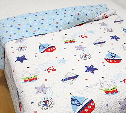 Sailboat Baby Bedding Coverlet Quilt Bedspread Throw Blanket
