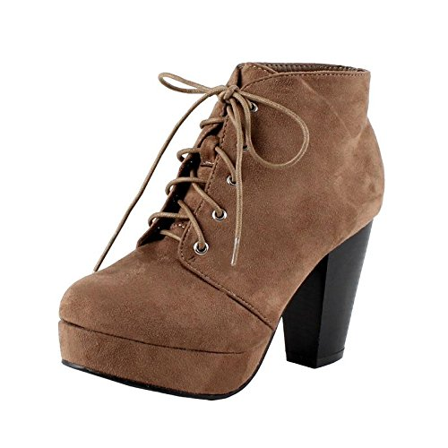 Platform Suede Booties - Forever Camille-86 Women's Comfort Stacked Chunky Heel Lace up Ankle Booties Taupe 7