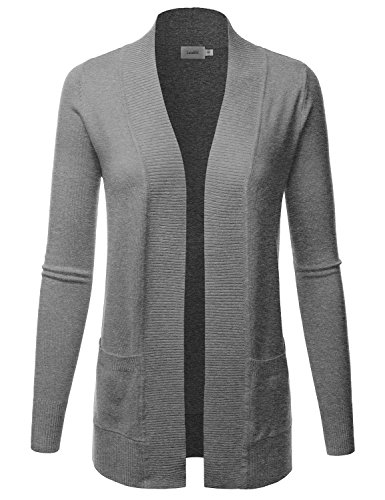 Gray Long Sleeve Sweater - LALABEE Women's Open Front Pockets Knit Long Sleeve Sweater Cardigan-HeatherGray-L