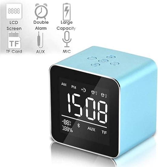 HAOHAO Mini Reloj Mini Altavoz Bluetooth inalámbrico multifunción Reloj Despertador Digital LED Reloj de Escritorio Bluetooth Audio Música, Espejo de Alta definición de repetición de Carga,Azul: Amazon.es: Hogar