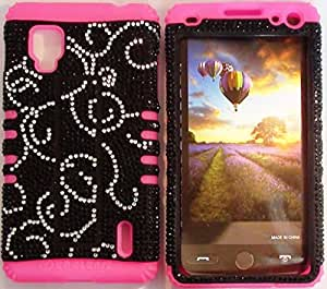 Cellphone Trendz (TM) Silver Swirl Crystal Bling on Pink Silicone 2 in 1 Hybrid Rocker High Impact Bumper Case for LG Optimus G LS970 (SPRINT Only) + Free Wristband Accessory - Cellphone Trendz (TM)